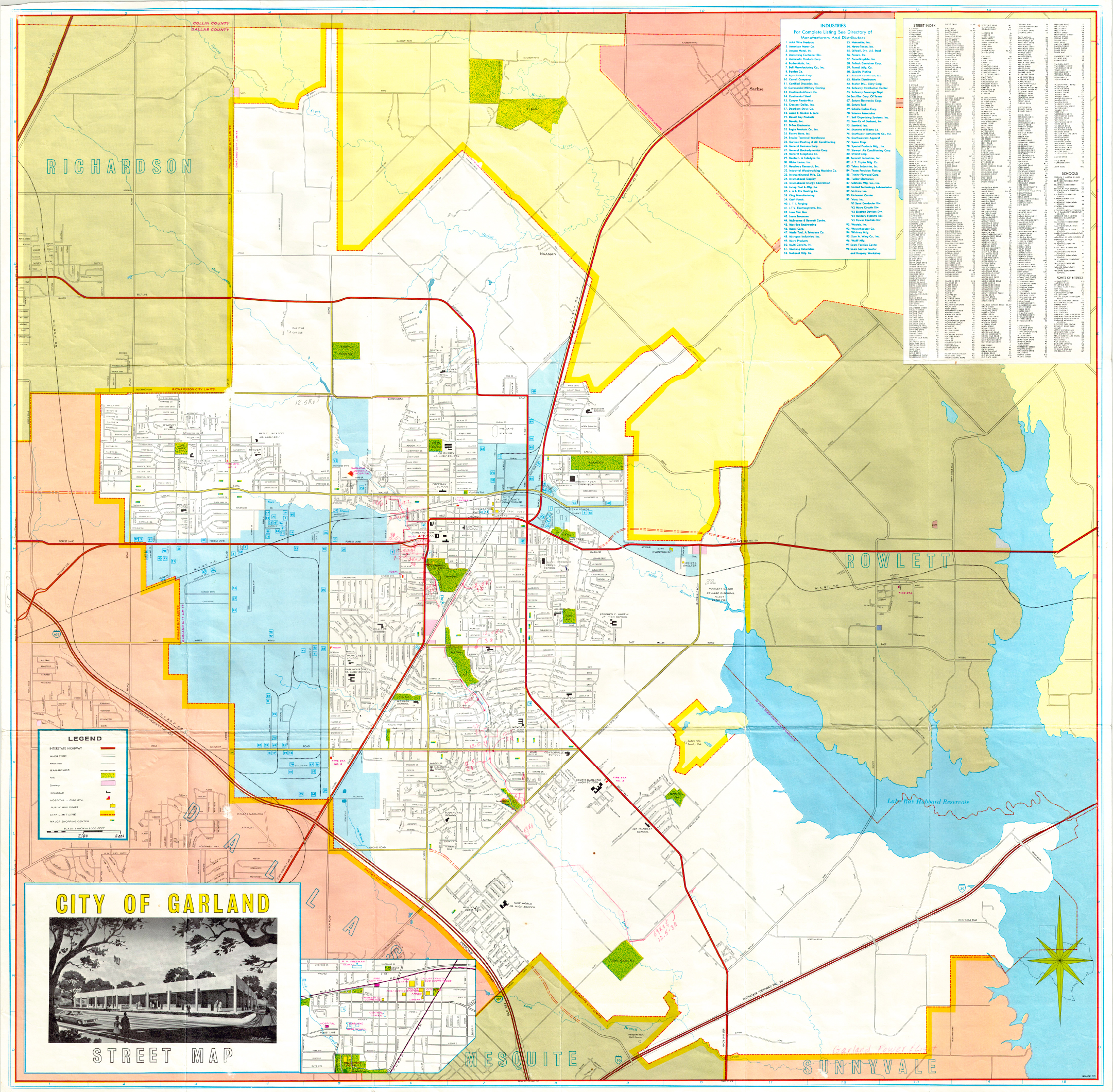 Garland Landmark Society City Map Garland Texas 1968 1970