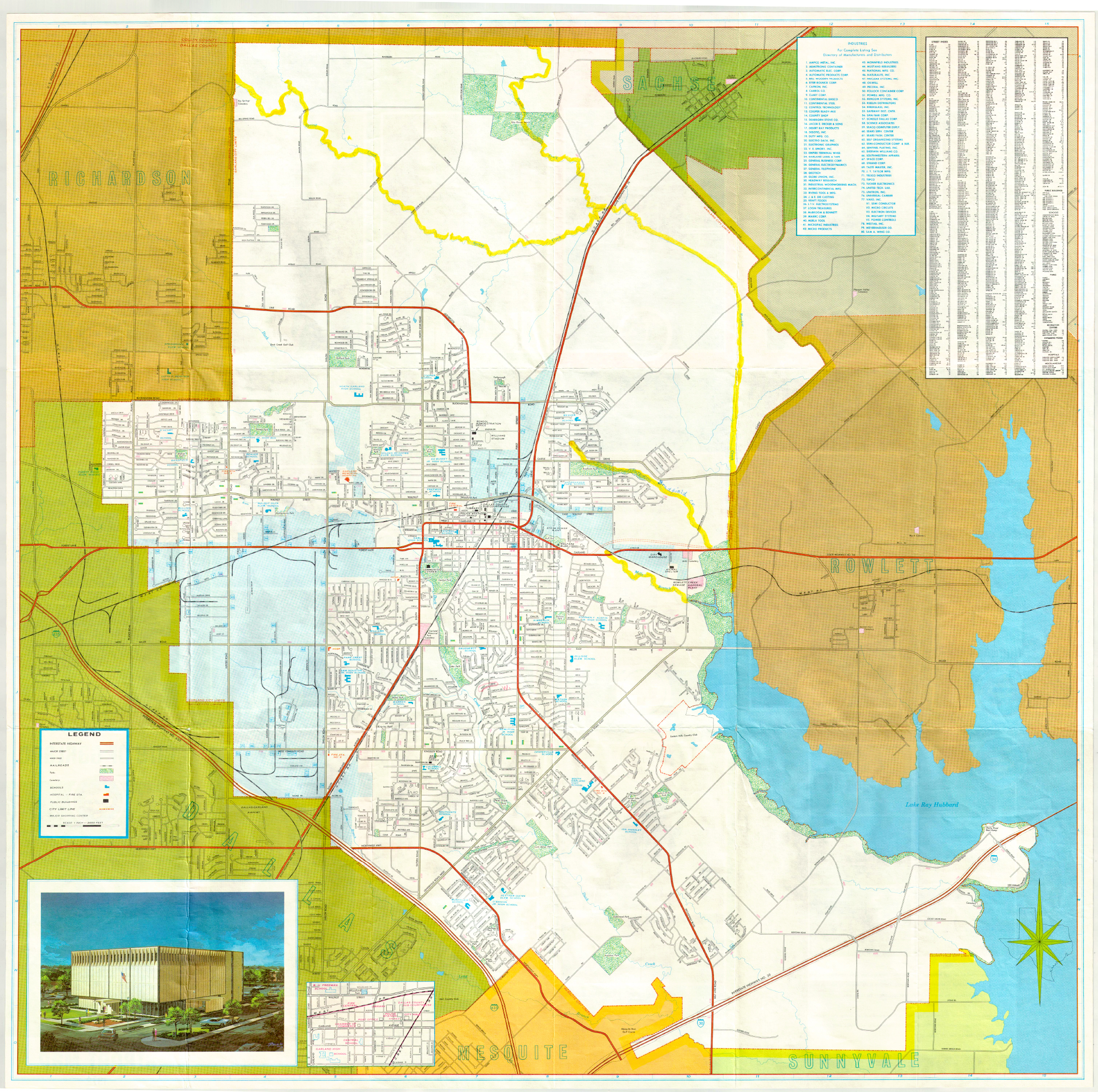Garland Landmark Society City Map Garland Texas 1972