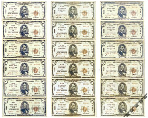 Sheet of $5 National Currency notes